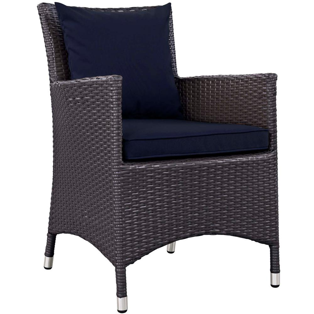 Convene Wicker Outdoor Patio Dining Chair in Espresso with Navy Cushions