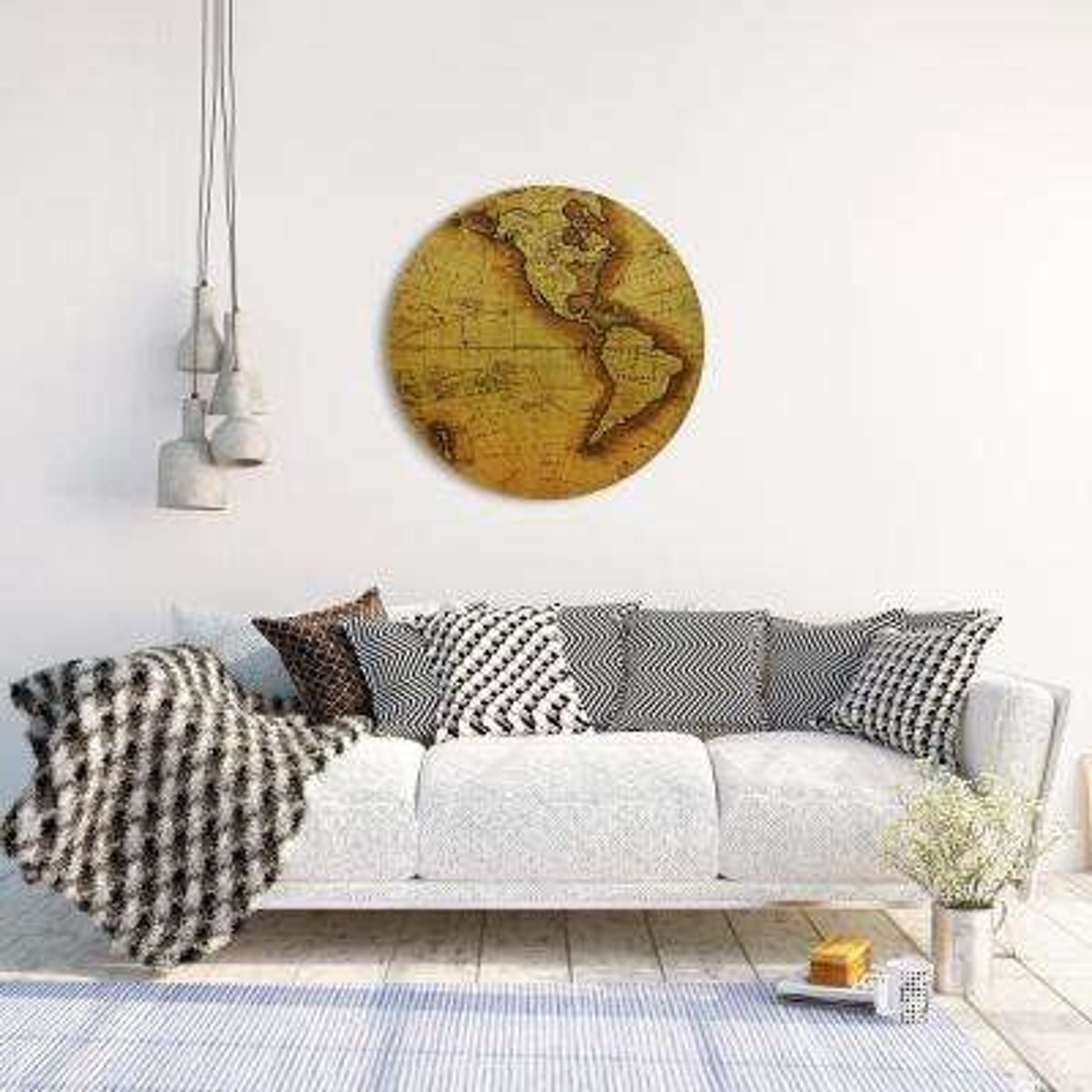 """Hemisphere A"" Circular Gold Canvas Giclee Printed on 2"" Wood Stretcher Wall Art"