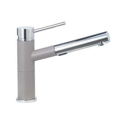 Alta Compact Single-Handle Pull-Out Sprayer Kitchen Faucet with 1.8 GPM in Truffle and Chrome Mix