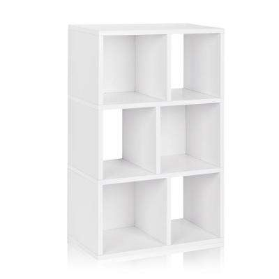 Laguna 12 in. x 22.8 in. x 36.8 in. 3-Shelf zBoard Bookcase, Tool-Free Assembly Cubby Storage in Pearl White