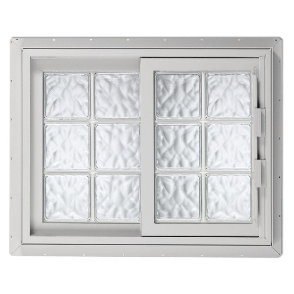 Hy-Lite 40.75 in. x 40.125 in. Acrylic Block Left-Hand Sliding Vinyl Window - White