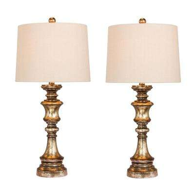 Pair of 27.75 in. Candlestick Resin Table Lamps in a Gold Leaf with Brown Wash