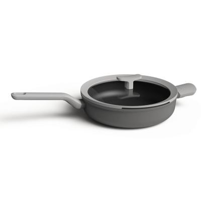 Leo 3.1 qt. Aluminum Nonstick Saute Pan in Grey with Glass Lid