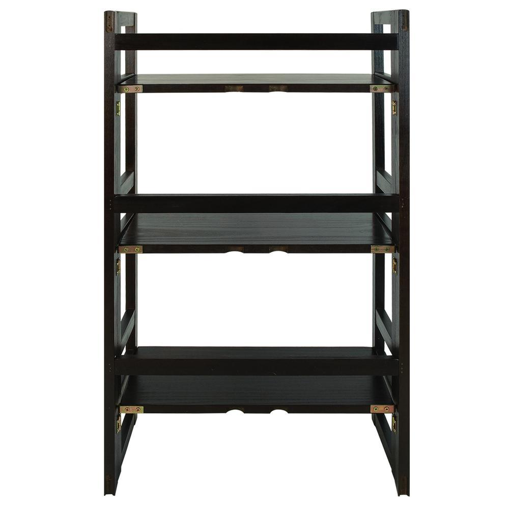 Espresso 3-Shelf Folding Student Bookcase