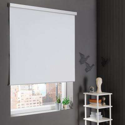 Self-Cleaning Cut-to-Width White Cordless Blackout Roller Shade 37 in. W x 72 in. L