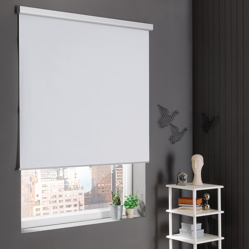 Home Decorators Collection White Cordless Stain Resistant Blackout Roller Shades 55 in. W x 72 in. L
