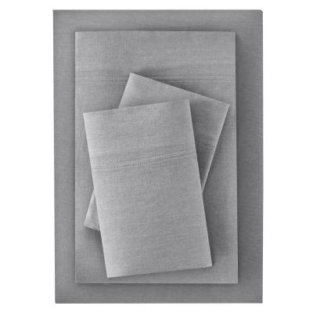 Jersey Knit Cotton Blend 3-Piece Twin XL Sheet Set in Stone Gray