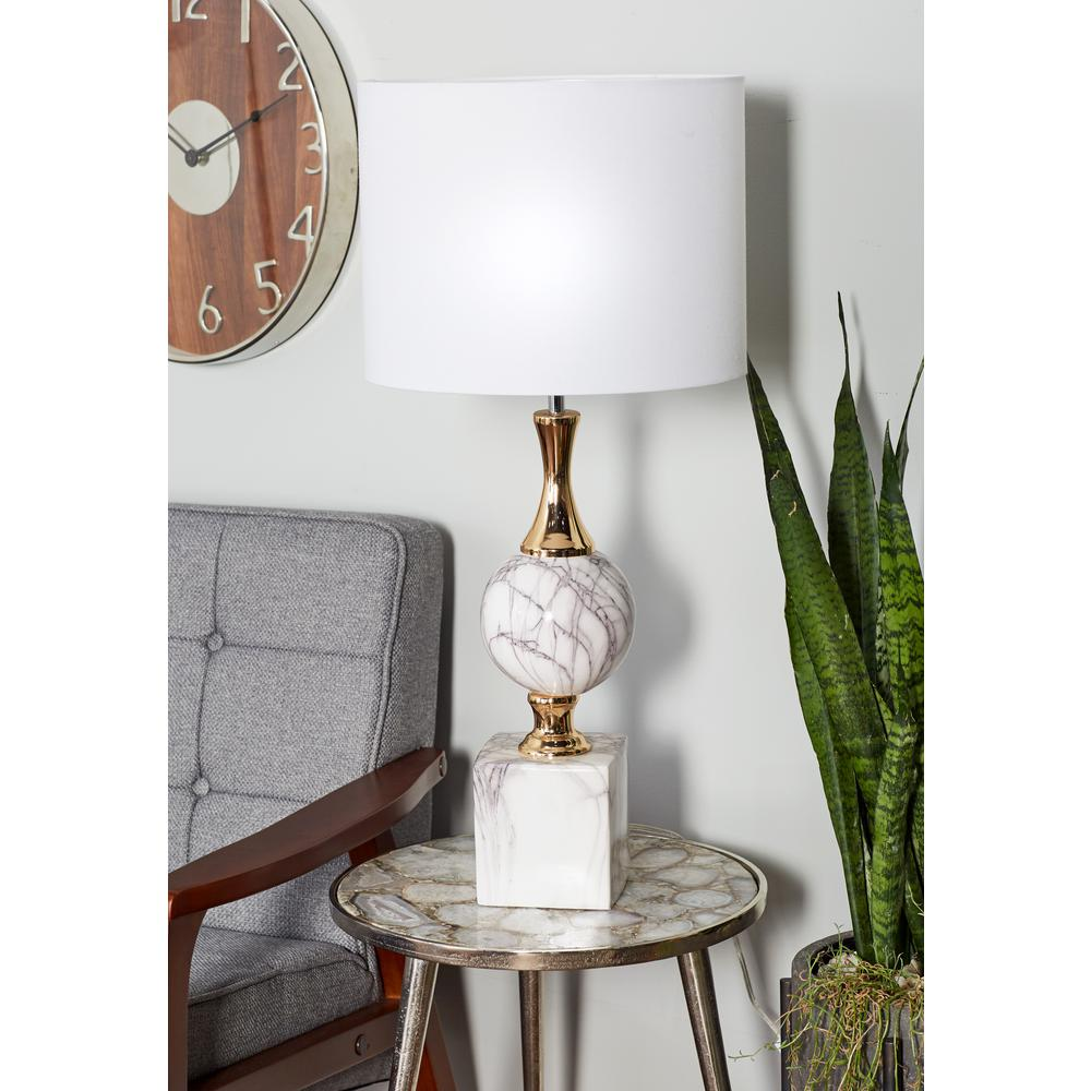 Litton Lane 30 In White Urn Shaped Table Lamp With Silver Accents