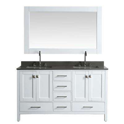 London 61 in. W x 22 in. D Vanity in White with Quartz Vanity Top in Gray with White Basin and Mirror