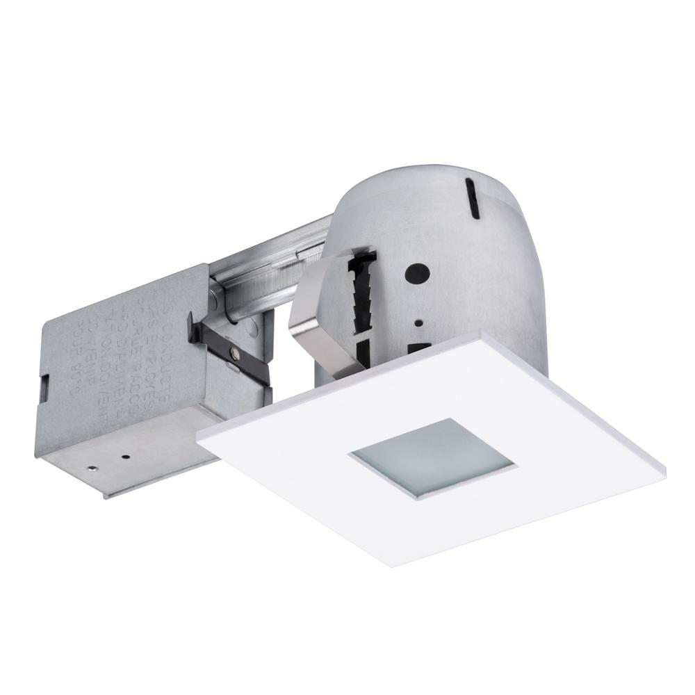 Globe Electric 4 in. Square Shower White Matte Recessed Lighting Kit