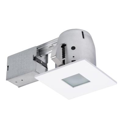 4 in. Square Shower White Matte Recessed Lighting Kit