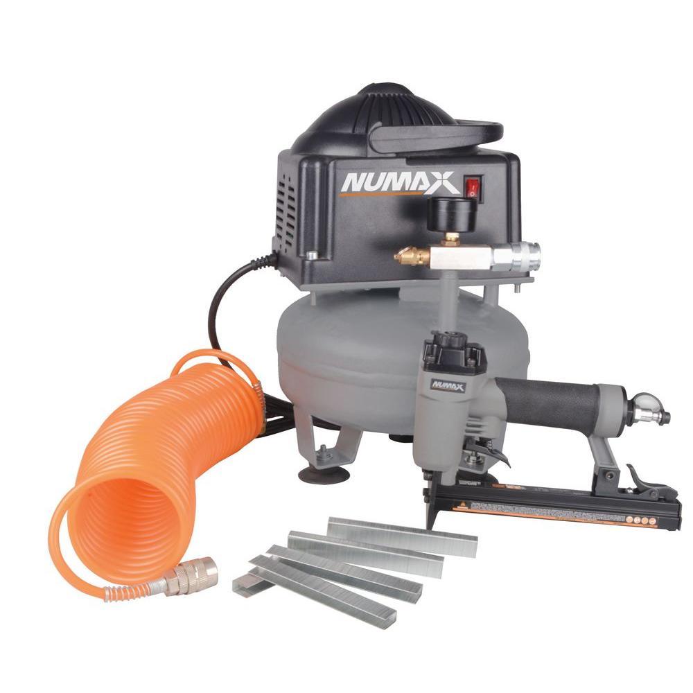 oilfree compressor and upholstery stapler combo kit