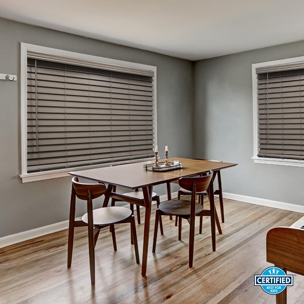 Gray Cordless 2 - 1/2 in. Premium Faux Wood Blind -