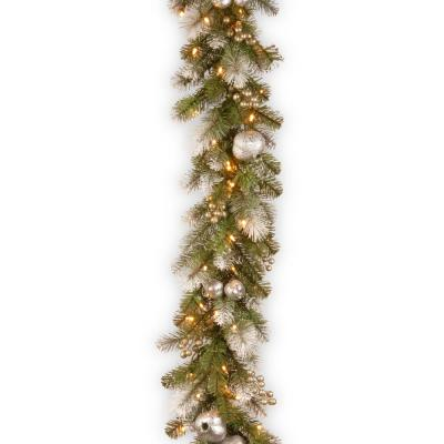 9 ft. Glittery Pomegranate Pine Garland with Clear Lights