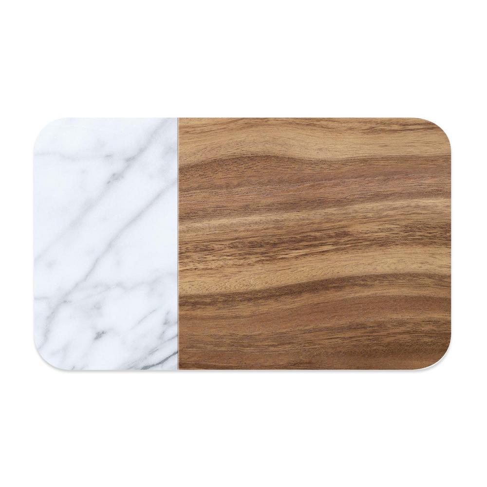 Acacia Wood and Carrara Marble Pet Placemat