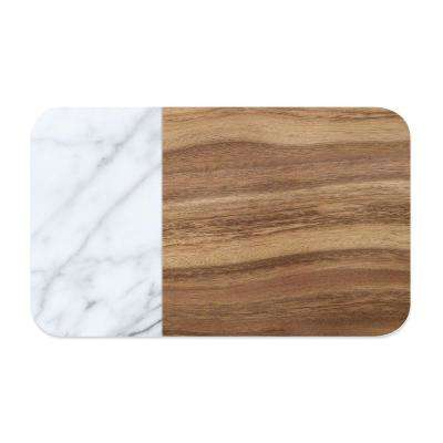 Acacia Wood and Carrara Marble Pet Placemat