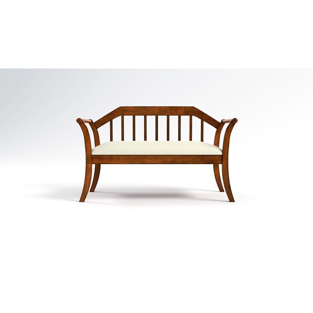 Furniture of America Lelan Dark Oak Upholstered Bench