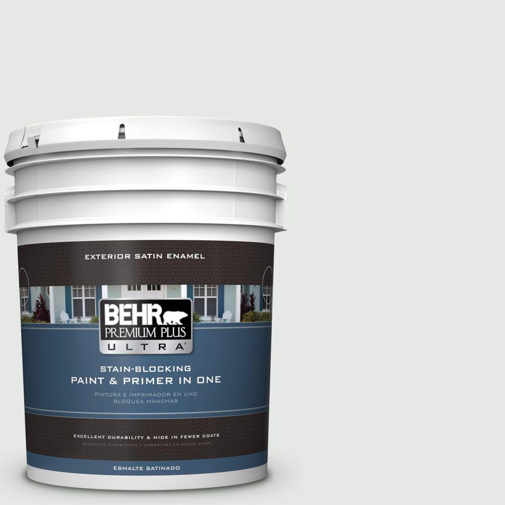 BEHR Premium Plus Ultra 5-gal. #PPL-55 Coastal Fog Satin Enamel Exterior Paint
