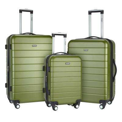 3-Piece Hardside Vertical Luggage Set with Folding Drink Holder/Charging Station on the Back