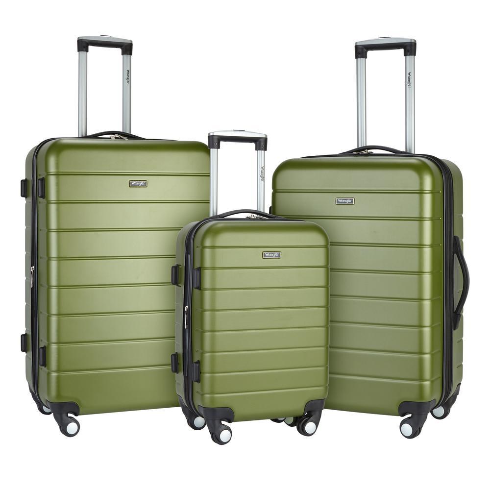 Completely new Wrangler 3-Piece Hardside Vertical Luggage Set with Folding Drink  YE05