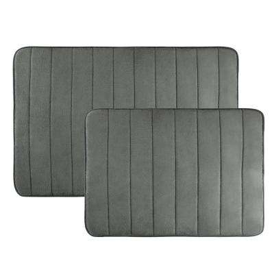31 in. x 24.5 in. and 20.25 in. x 17 in. 2-Piece Hydro Grip Memory Foam Bath Mat in Silver