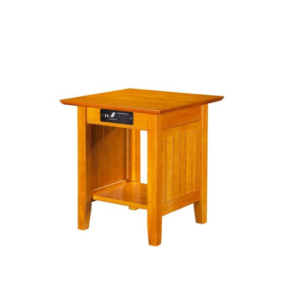 Atlantic Furniture Nantucket Caramel End Table with Charging Station