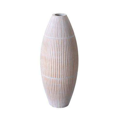 15 in. White Decorative Handmade Oval Mango Wood Vase