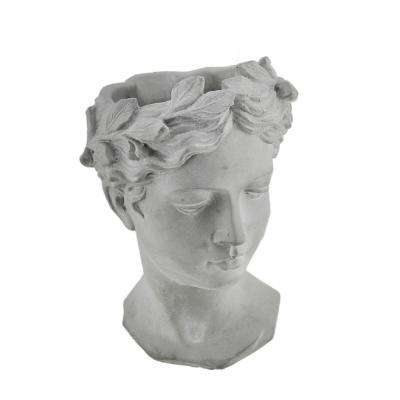 Grey Cement Classic Greek Lady Indoor/Outdoor Head Planter