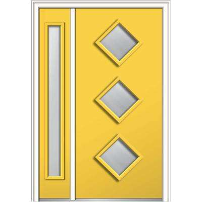 48 in. x 80 in. Aveline Frosted Glass Right-Hand 3-Lite Midcentury Painted Steel Prehung Front Door with Sidelite