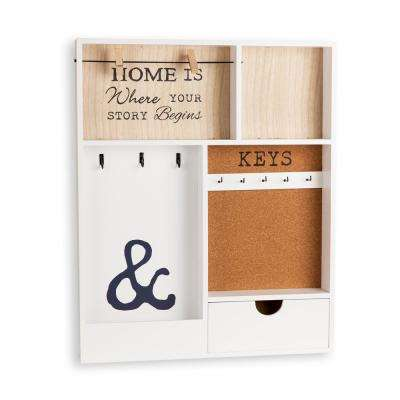 Entryway White MDF Key/Mail Holder Wall Organizer
