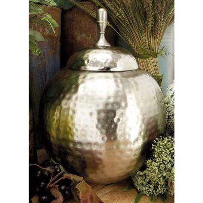 13 in. Silver Iron Round Urn-Type Decorative Jar with Lid