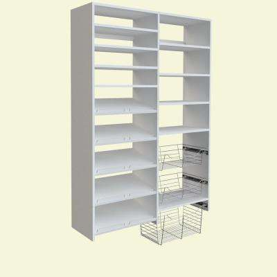 72 in. H x 50 in. W White Garage Baskets and Shelving Storage Kit