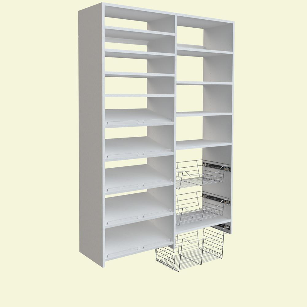 SimplyNeu 72 in. H x 50 in. W White Garage Baskets and Shelving Storage Kit