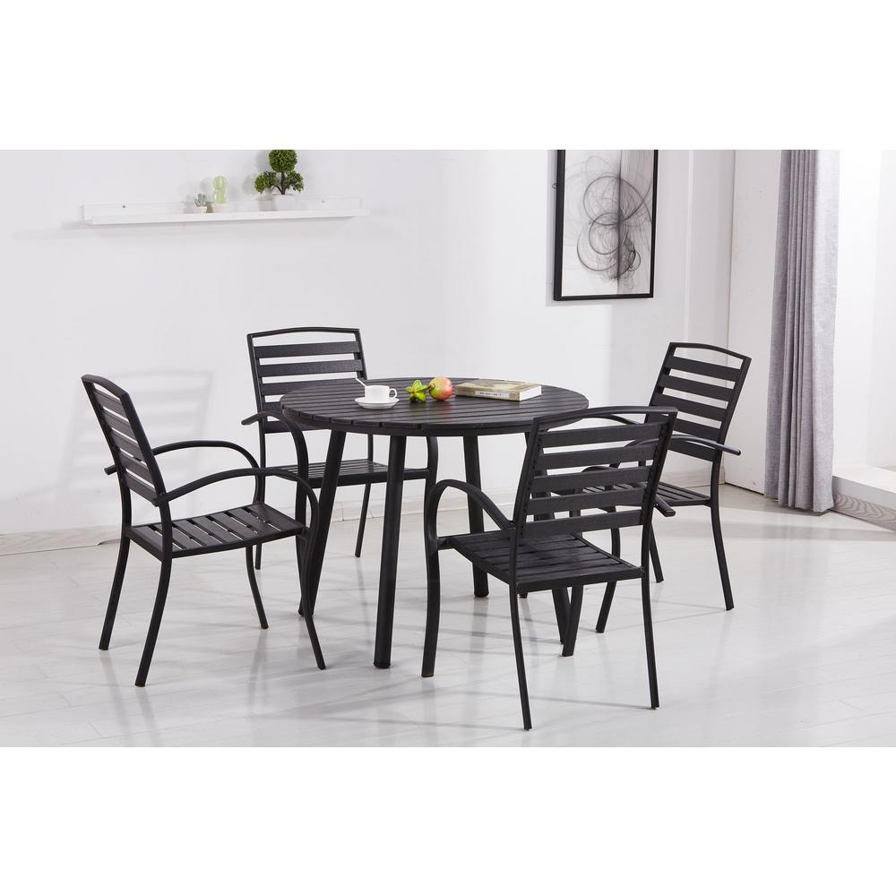 Charmant Modern Contemporary Black 5 Piece Metal Round Outdoor Dining Set With  Slatted Faux Wood And