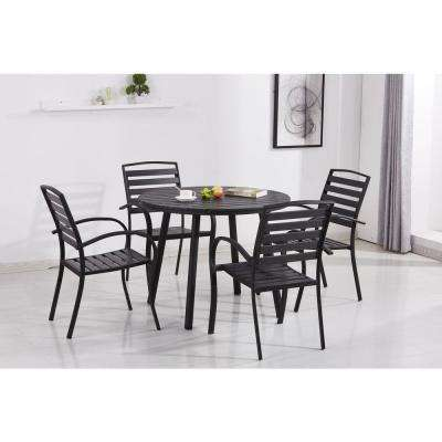 Modern Contemporary Black 5-Piece Metal Round Outdoor Dining Set with Slatted Faux Wood and Stackable Chairs