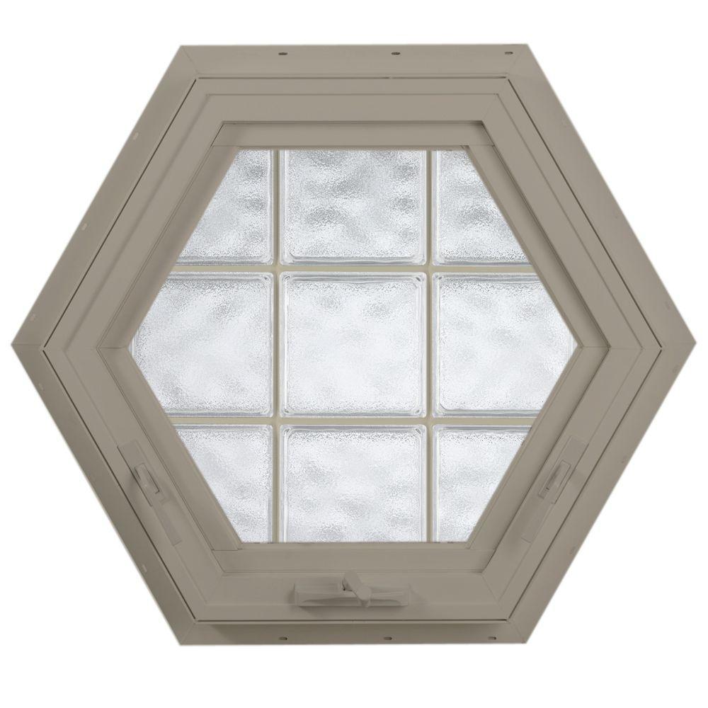Hy-Lite 27.75 in. x 24 in. Acrylic Block Hexagon Awning Vinyl Window - Tan