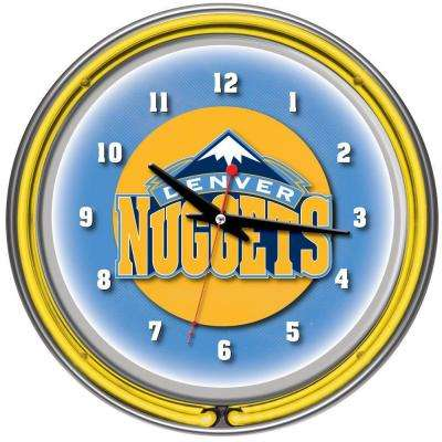 14 in. Denver Nuggets NBA Chrome Double Ring Neon Wall Clock