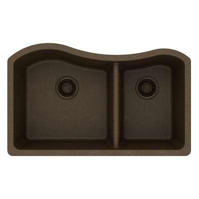 Quartz Classic Undermount Composite 33 in. Rounded 60/40 Double Bowl Kitchen Sink in Mocha