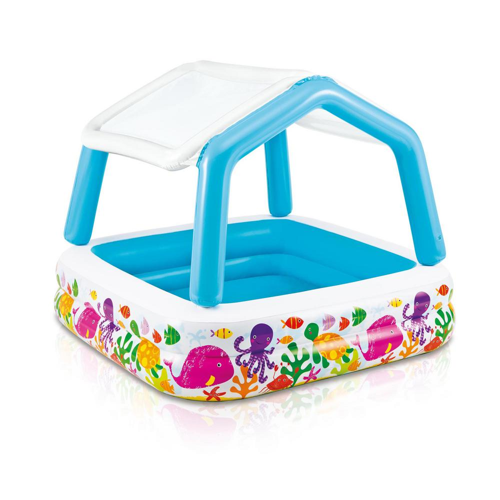Intex Square 62 in. x 48 in. Deep Inflatable Ocean Scene Sun Shade Kids Swimming Pool with Canopy