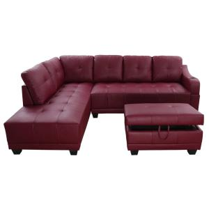 Star Home Living Bill Red Left Facing Sectional Sofa with ...