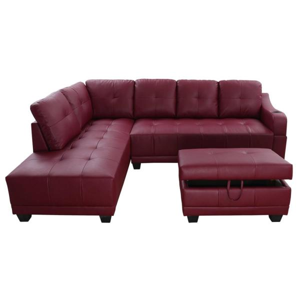 Star Home Living Bill Red Left Facing Sectional Sofa with Ottoman ...