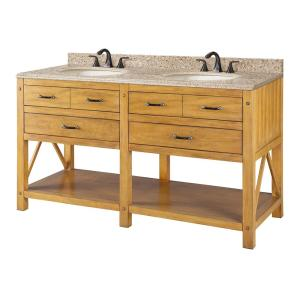 Avondale 61 in. W x 22 in. D Vanity in Weathered Pine with Granite Vanity Top in Beige with White Sink
