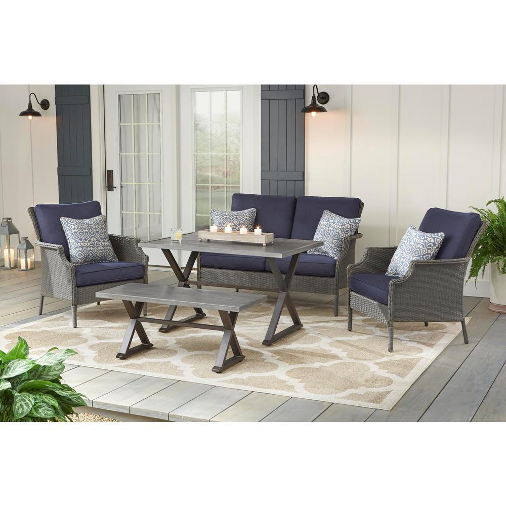 Grayson 5-Piece Gray Wicker Patio Conversation Set with Blue Olefin Cushions