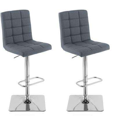 Adjustable Height Blue-Grey Square Tufted Fabric Bar Stool (Set of 2)