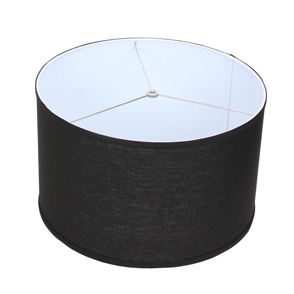 18 in. Top Diameter x 18 in. Bottom Diameter x 11 in. H Designer Linen Black Drum Lamp Shade