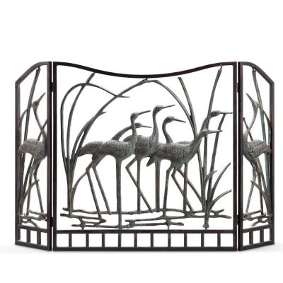 3-Panel Crane Flock Fireplace Screen