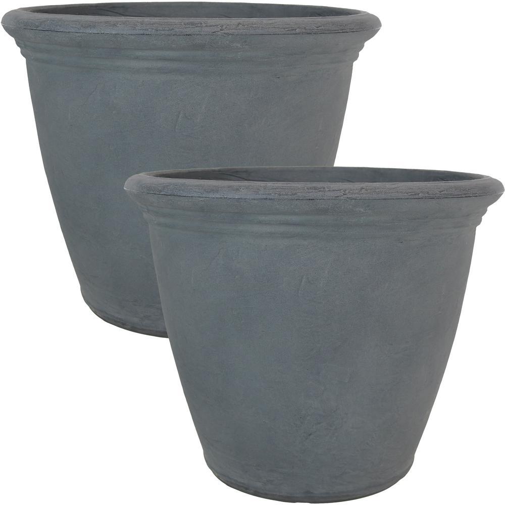 20 in. Slate Anjelica Resin Outdoor Flower Pot Planter (2-Pack)