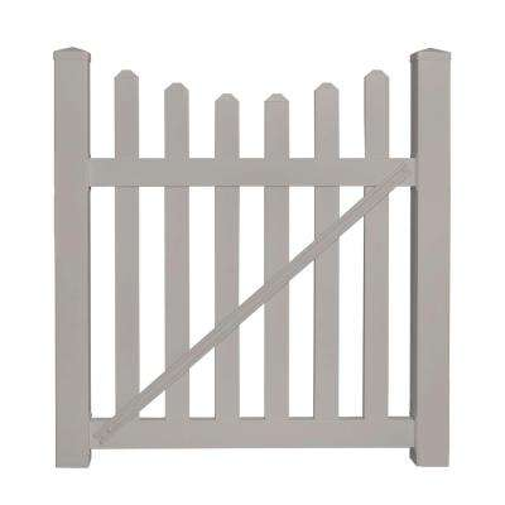 Ellington 4 ft. W x 4 ft. H Tan Vinyl Picket Fence Gate