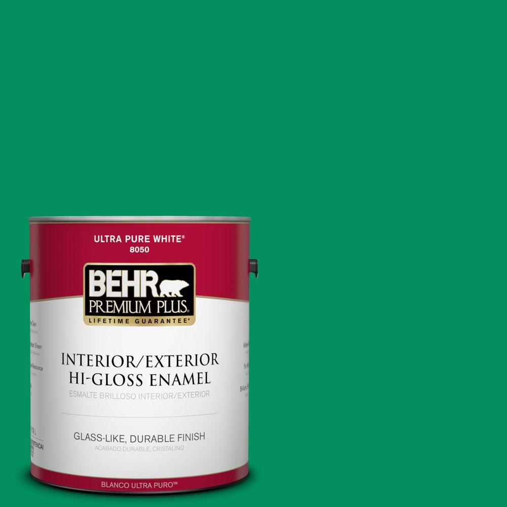 BEHR Premium Plus 1-gal. #470B-6 Emerald Lake Hi-Gloss Enamel Interior/Exterior Paint