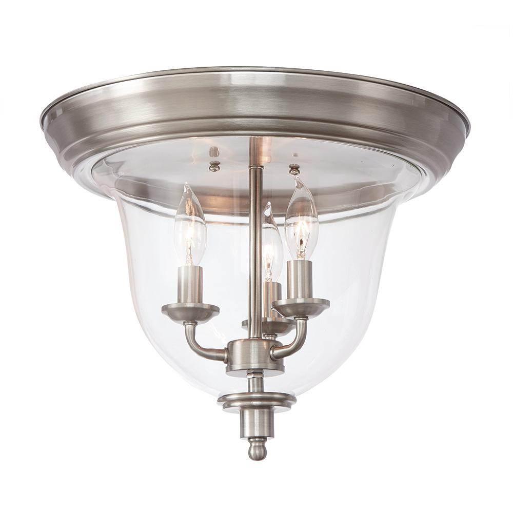 Home Decorators Collection 3-Light Brushed Nickel Flush Mount with Clear Glass